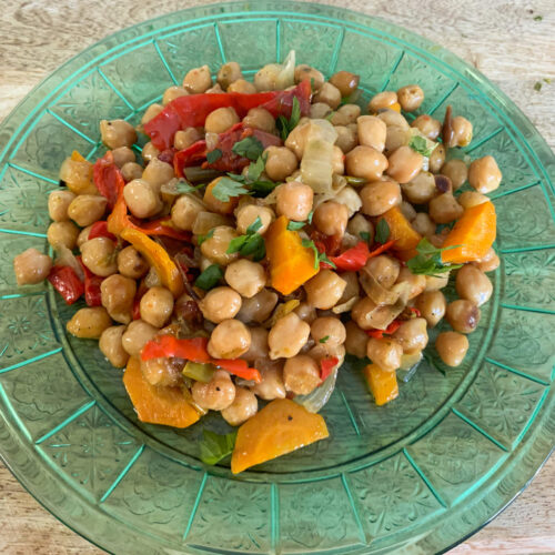 served chickpeas recipe in a dish